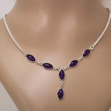 Amethyst Halskette Silber 925 Collier 40cm Kette  6 Cabochon Edelsteine Lila