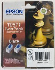 EPSON T0511 T051 TWINPACK ORIGINALE NERO (2PZ) STYLUS COLOR 850/860/1160/1520