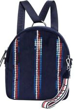 New TOMMY HILFIGER roma velvet backpack sripes shimmering sequins polyester navy