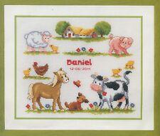 Stickpackung Stickbild sticken 27x23 cm Tiere Bauernhof Baby Hund Pferd Kuh Huhn