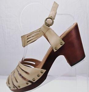 Miz Mooz Hilary Platform Sandals Tan Leather Wedge Heel Slingback Womens Sz 9 US