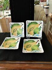 4 Blue Sky Ceramic Pear Square Plates J McCall 2004