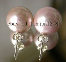 Fashion 8 10 12 14mm Pink South Sea Shell Pearl 925 Silver Stud Earrings