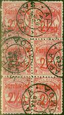 More details for samoa 1898 2 1/2d on 1s dull rose-carmine sg85 fine used block of 6