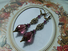 VINTAGE STYLE PURPLE PLUM LONG DROP EARRINGS Swarovski elements