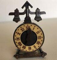 Vtg Dollhouse Mini Furniture Clock Pencil Sharpener Die Cast Metal