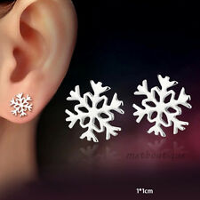1Pair Ladies Silver Snowflake Shaped Ear Stud Earrings Jewelry Xmas Gift QUE