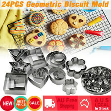 24PCS Heart Flower Star Cookie Biscuit Baking Moulds Stainless Steel Cutter Mold