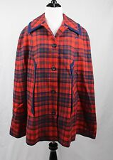 PENDLETON Red Blue Tartan Plaid Check Wool Button Down Cape Poncho