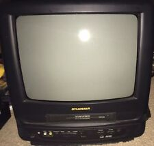 "Sylvania SRC13DC 13"" CRT Television TV VHS Combo VCR, Remote, Car Adapter Plug"