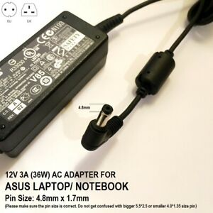 12V 3A 4.8*1.7, 36W Charger for Asus EEE PC (Compatible models in description)