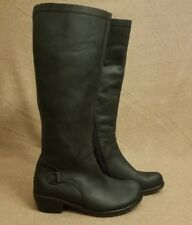 Fly London Women Black Leather Tall Knee Low Heel Riding Zip Pull Boots Size 38