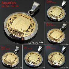 MEN WOMEN Stainless Steel Silver Gold 12 Zodiac Signs Horoscope Charm Pendant