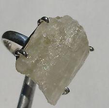 CeS Ring roher hellgrüner Hidennit / Kunzit Kristall, Spodumen aus Afganistan