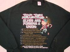 Vintage Christmas Elves Are in Unions Santa Claus Top 10 Crew Neck Sweatshirt L