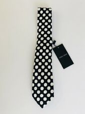 Giorgio Armani Black and White polka dot 100% Silk Tie made in Italy