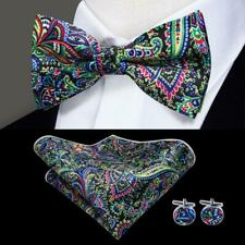 US Silk Mens Bow Tie Black Red Yellow Green Paisley Pre Bowtie Set Fancy Party