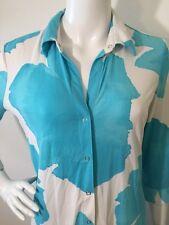 TAHARI DRESS Ocean Blue & White FLORAL PRINT Snap Front Size L Nylon Spandax