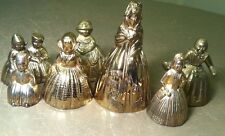 Antique Rare Set of 7 Vintage Brass Lady Figural Colonial Dutch  Hand Bells