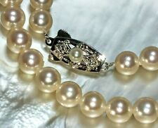 Vintage MIKIMOTO PEARL ISLAND Akoya white cultured necklace JAPAN 7mm Japanese