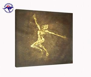 FRAMED HUGE ABSTRACT PAINTING WALL ART MODERN DECOR HAND PAINTED GOLDEN DANCER
