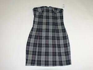 Charlotte Russe Women's Fitted Strapless Dress Size Large NWT Gray Black Plaid L