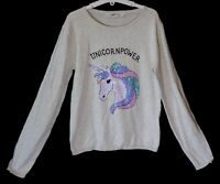 Girls H&M Light Grey Sparkly Sequins Unicorn Soft Feel Jumper Age 12-13 Years