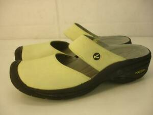 Women's 11 M Keen Saratoga Chartreuse Citron Leather Mules Clogs Mary Jane Shoes
