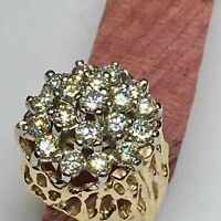 Vintage Antique  Estate Gold Dome VS2 Diamond Cluster Cocktail Ring Size 7