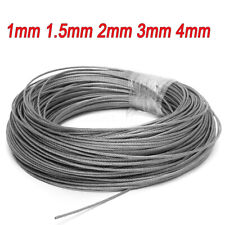 1mm 1.5mm 2mm 3mm 4mm Stainless Steel Cable Rigging Wire Rope Flexible 1M-100M !