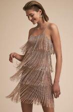 BHLDN Dress Beaded Platinum Gold Fringe Over Rose Nude 0 NWT