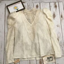 NWT Vintage 1980's Scott McClintock Lacey Antique White Puff Sleeve Top size 4