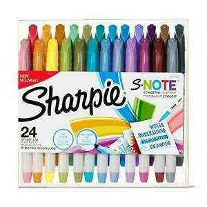 Sharpie S-Note Creative Markers Highlighters Assorted Colors Chisel Tip 24 Count