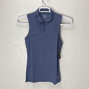 NIKE Women's Dri-Fit Sleeveless Golf Polo XS C19809-492 NWT Dark Blue