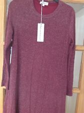 DRESS SIZE SMALL SABRINA DIAMANTI WINE COLOUR WITH SILVER EFFECT GLITTER LINED