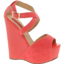 London Rebel Cheville Sangle Corail Chaussures Compensées Taille 3/36