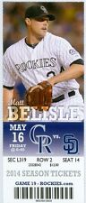 2014 Rockies vs Padres Ticket: Jorge De La Rosa carried a no-hitter through six