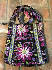 Vera Bradley Cross Body Hipster Hand Bag Purple Punch Quilted Floral Brown Purse
