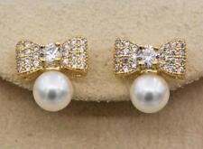 18K Gold Filled - White Topaz Zircon Bow Bowknot Pearl Wedding Women Earrings