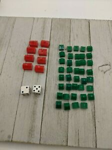 Vintage 1961 Monopoly Houses Hotels 13 Red 24 Green Plus Dice