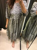 ZARA NEW PRINTED MIDI DRESS LONG FLOWING ANIMAL LEOPARD PRINT RUFFLE SIZE S/M/L