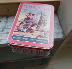 Buffalo Bill Storage Tin 🌸Cowboy Vintage Retro Style🌸Biscuits*Lunch Box*Photos