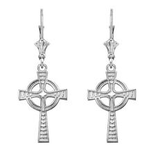 14k White Gold Celtic Cross Drop / Dangle Leverback Earrings