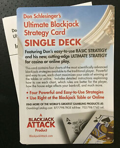 Blackjack Basic Strategy Cards by Don Schlesinger: Single Deck - FREE SHIPPING