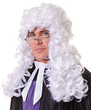 Mens Long White Curly Judge Lawyer Barrister Court Fancy Dress Wig