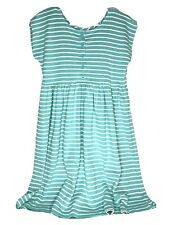 Hanna Anderson girls dress aqua white stripes button front cap sleeve size 14-16