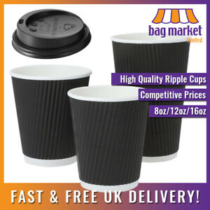 Black Biodegradable Ripple Wall Paper Coffee Cups & Sip Lids   Tea/Hot/Insulated