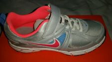 NIB NIKE DART 9 PSV SILVER pink BLUE athletic shoes velcro running sz 3 youth