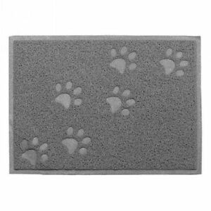 Grey Square Shaped PVC Cat Dog Mat Non-slip Pet Food Water Bowl Feeding Placemat