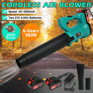 Cordless Electric Air Blower 6 Speeds Adjustable Vacuum Blower with 2 batteries